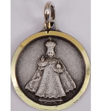 MEDAIL ENF JESUS DE PRAGUE métal vieil argenté