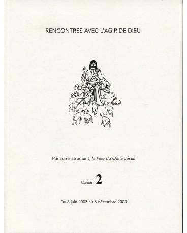 RENCONTRES AVEC L'AGIR DE DIEU - Cahier 2 : 6 JUIN 03 AU 6 DEC 03