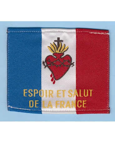 DRAPEAU S COEUR TISSU 1 FACE BRODEE ESPOIR ET SALUT DE LA FRANCE..