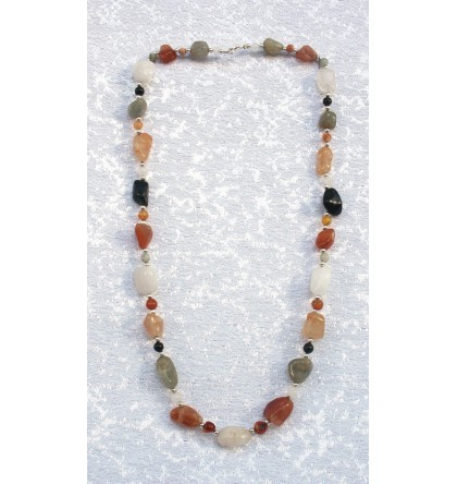 AGATE COLLIER PIERRE ROULEE