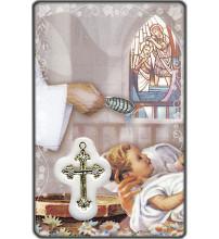CARTE MEDAIL PLASTIQUE SOUVENIR DE BAPTEME