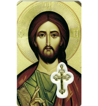 CARTE MEDAIL PLASTIQUE CHRIST ICONE Notre Père